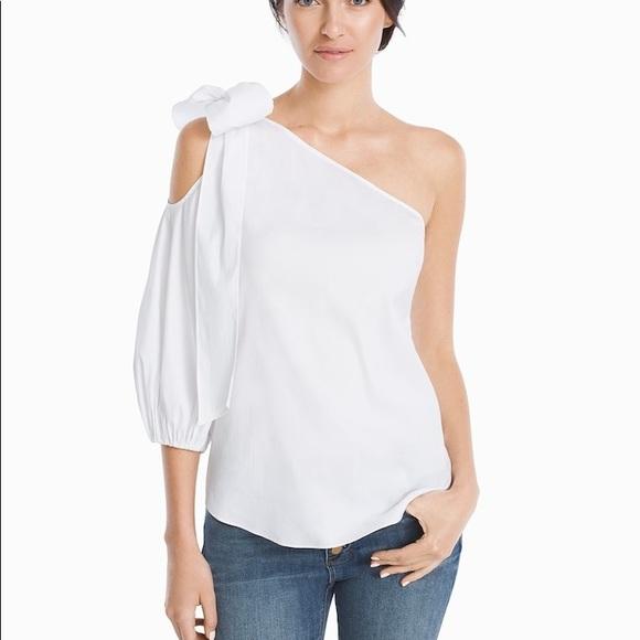 58e8278e169 WHBM One Shoulder Bow Tilda Poplin Shirt 2. NWT. White House Black Market